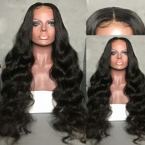 Long Center Parting Fluffy Body Wave Synthetic Lace Front Wig - BLACK