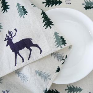 Christmas Trees Elk Pattern Table Cloth - COLORFUL W24 INCH * L24 INCH