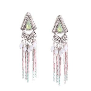 Rhinestone Resin Fringed Chain Teardrop Earrings -
