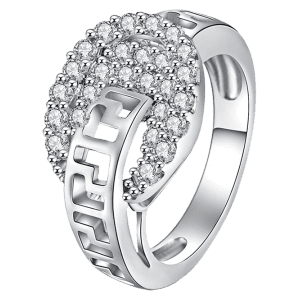 Zircon Embellished Hollow Out Carve Metal Ring - Argent 8