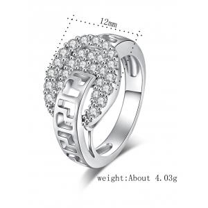 Zircon Embellished Hollow Out Carve Metal Ring -