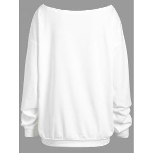 Plus Size Drop Shoulder Happy Halloween Pumpkin Sweatshirt -