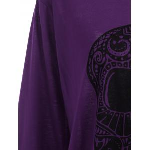 Plus Size Skull Skew Collar Sweatshirt - PURPLE 5XL