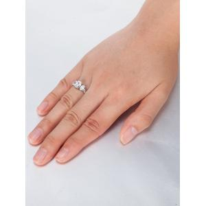 Oval Zircon Embellished Metal Ring - SILVER 9