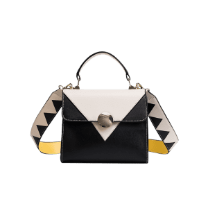 Faux Leather Color Blocking Geometric Crossbody Bag -
