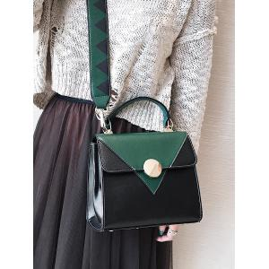 Faux Leather Color Blocking Geometric Crossbody Bag - GREEN