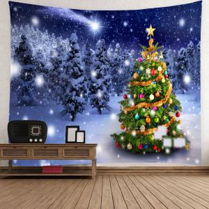 Christmas Tree Night Snow Forest Printed Wall Tapestry -