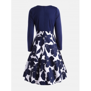 High Waist Flower Print Long Sleeve Dress - PURPLISH BLUE M