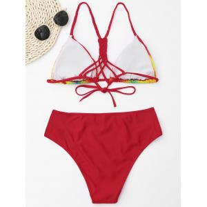 Rainbow Print Braided Crochet Back Bikini - RED XL