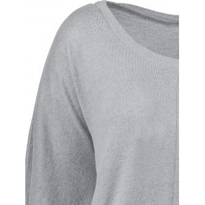 Plus Size Crew Neck Long Sleeve Top - Gris 5XL