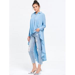 Longline High Low Hem Flowy Blouse - LIGHT BLUE M