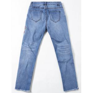 Embroidery Embellished Cigarette Jeans - DENIM BLUE 2XL