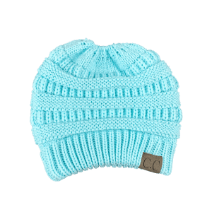 Open Top Mixcolour Knitted Hat - LIGHT BLUE