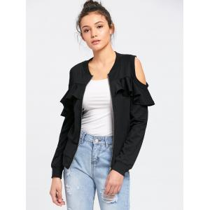 Flounced Cold Shoulder Jacket -