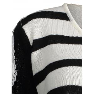 Striped Plus Size Open Shoulder Distressed Sweater -