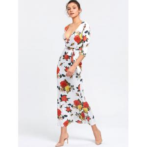 Floral Plunging Neck Mermaid Dress - WHITE M