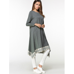 Tribal Asymmetrical Long Blouse Dress -