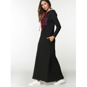 Drawstring Letter Embroidered Maxi Hoodie Dress -