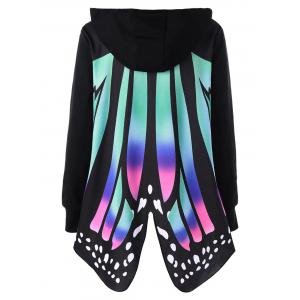 Plus Size Graphic Butterfly Shape Hoodie -