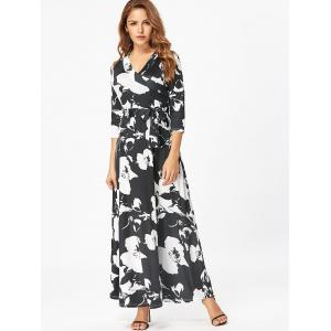 Surplice Belted Floral Print Maxi Dress -
