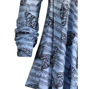 Music Note Butterfly Plus Size Ombre Cardigan -