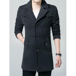 Epaulet Single Breasted Lapel Wool Blend Coat -