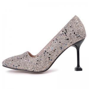 Square Toe Strange Heel Sequined Pumps -