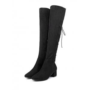 Chunky Heel Tie Up Over The Knee Boots -