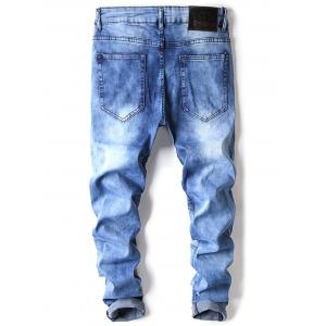 Accordion Pleat Distressed Biker Jeans -