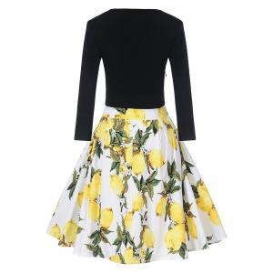 Vintage Lemon Print Fit et Flare Dress -