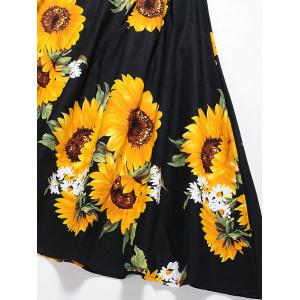 Vintage Sunflower Print Fit and Flare Skater Dress -