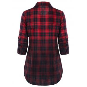Flap Pockets Ombre Checked Shirt -