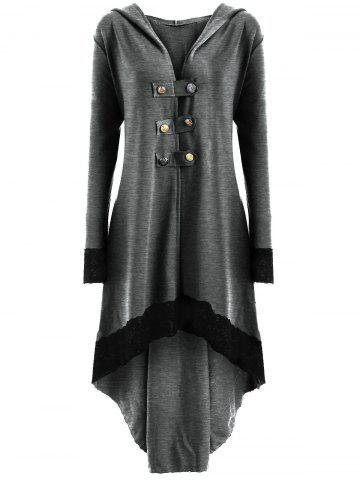 Latest High Low Hooded Plus Size Lace-up Coat - XL LIGHT GRAY Mobile