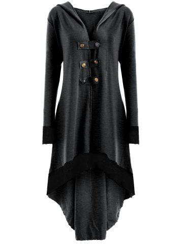 Sale High Low Hooded Plus Size Lace-up Coat DEEP GRAY 5XL