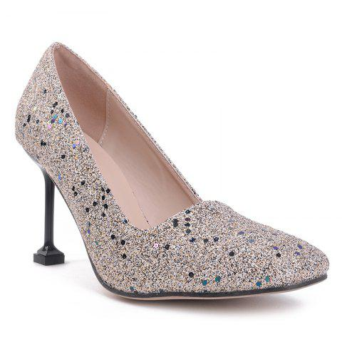 Latest Square Toe Strange Heel Sequined Pumps - 39 APRICOT Mobile