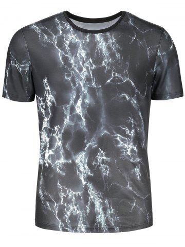 Hot Short Sleeve 3D Lightning Print T-shirt - M COLORMIX Mobile