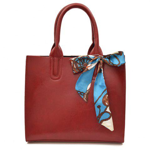 Buy Faux Leather Scarf Knotted Handbag - RED  Mobile