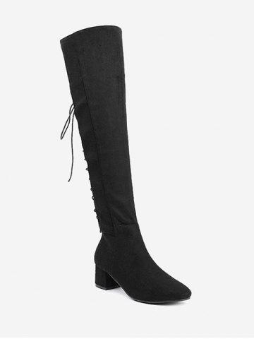 Fashion Chunky Heel Tie Up Over The Knee Boots BLACK 35