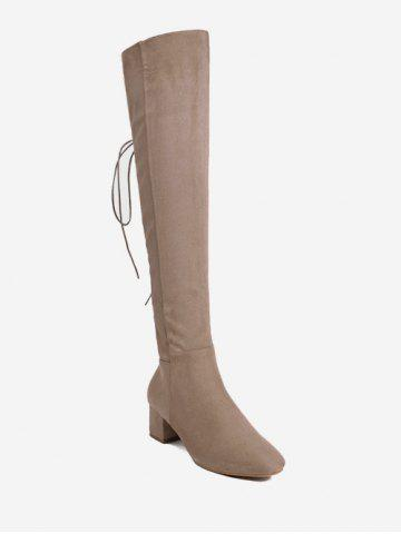 Hot Chunky Heel Tie Up Over The Knee Boots - 39 APRICOT Mobile