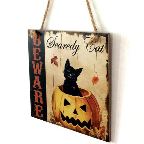 Cheap Halloween Pumpkin Cat Pattern Door Hanging Wooden Sign COLORMIX