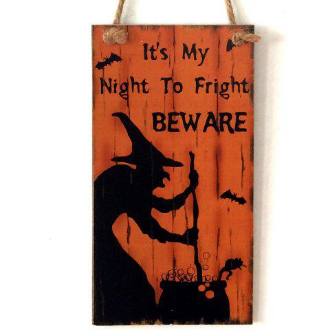 Fashion Halloween Witch Pattern Door Decor Wooden Hanging Sign - ORANGE RED  Mobile