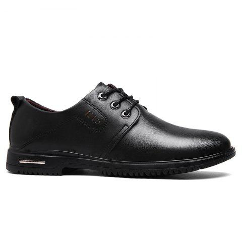 Shops Stitching Metal Faux Leather Formal Shoes - 41 BLACK Mobile