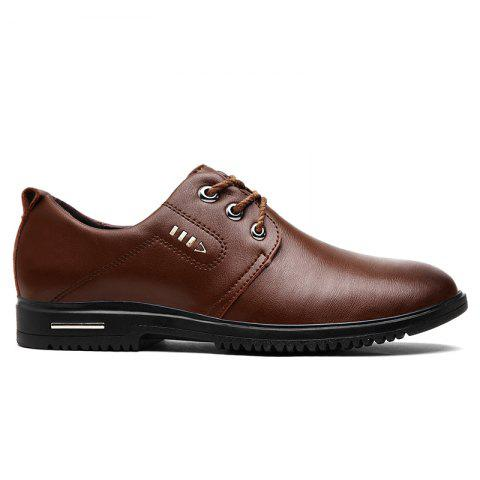 Fancy Stitching Metal Faux Leather Formal Shoes - 43 BROWN Mobile