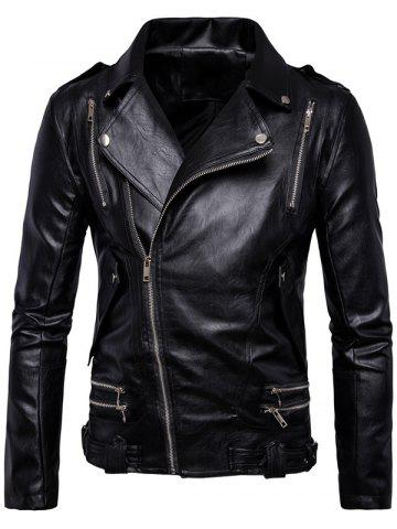 Asymmetrical Zip Up Epaulet Faux Leather Jacket