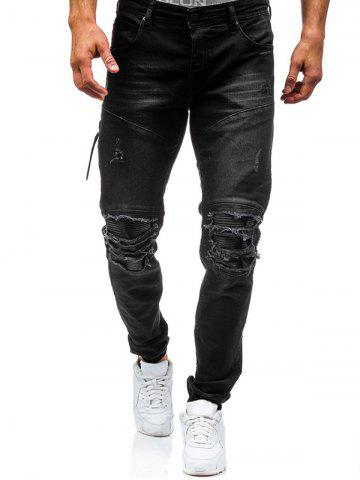 Fancy Beam Feet PU Insert Distressed Biker Jeans - 38 BLACK Mobile