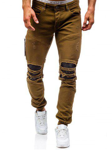 Shops Beam Feet PU Insert Distressed Biker Jeans BROWN 38