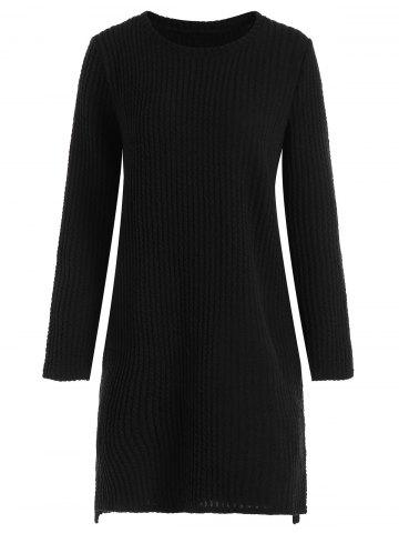 Fashion Plus Size Long Sleeve Ribbed Sweater Dress