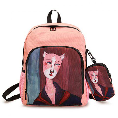 Affordable Side Pockets Hand Painting 2 Pieces Backpack Set - PINK  Mobile
