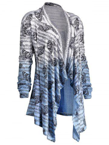 Best Music Note Butterfly Plus Size Ombre Cardigan - 5XL BLUE AND WHITE Mobile