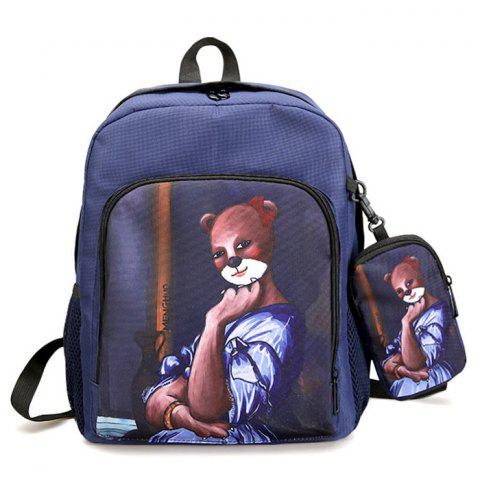 Fancy Side Pockets Hand Painting 2 Pieces Backpack Set - BLUE  Mobile